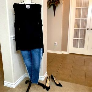 I Jeans by Buffalo black fringe sweater  M
